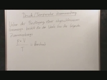 Lernvideo, Nachhilfevideo - Druck / Temperatur Zusammenhang